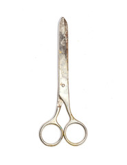 Old scissors isolated on a white background