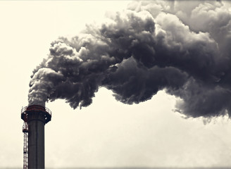 Dense smoke from a chimney