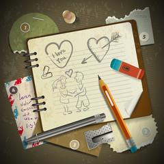 set of stationery, school supplies and love in vintage style