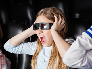 Scared Girl Screaming While Watching 3D Movie