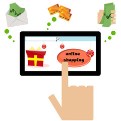 Vector illustrated online shopping with three payment methods.