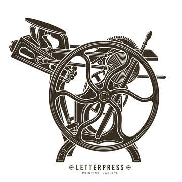Letterpress printing machine vector illustration. Vintage print