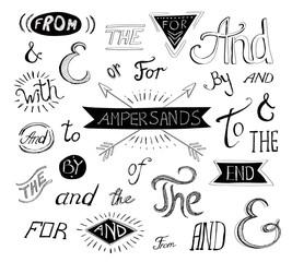 Vintage style hand lettered ampersands and catchwords for logo