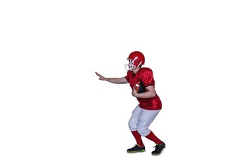 American football player running with the ball