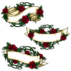Ribbon banners with roses around.