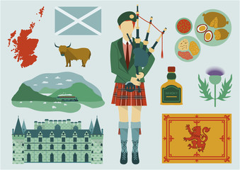All about Scotland elements. National map, food, tourist attractions, castle, flower and etc.