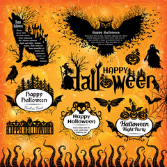 Halloween design elements. Collection of halloween labels, icons, banners and other decorative elements.