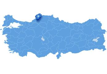 Map of Turkey, Bartin