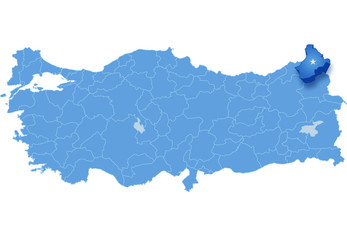 Map of Turkey, Ardahan