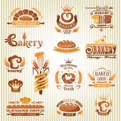 Set of bakery design elements