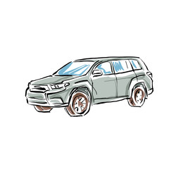 Colored hand drawn car on white background, illustration of a SU
