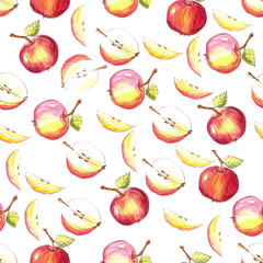 Apple Pattern . Drawing made with colored pencils