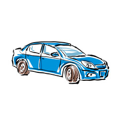 Colored hand drawn car on white background, illustrated sedan.