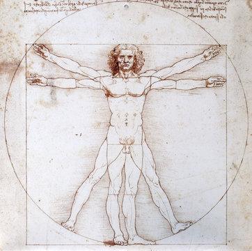 Leonardo da Vinci - Proportionsschema der menschlichen Gestalt nach Vitruv