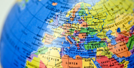 Fotobehang Wereldkaart Globus mit Landkarte Europa