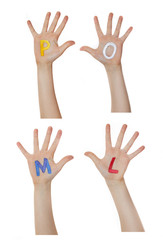 Alphabet (letters) painted on children hands.  Rises up hands.