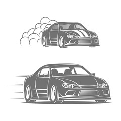 Sport car vector logo design. Street racing illustration. Drift