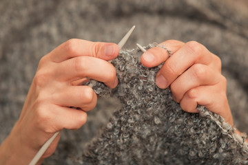 Hand knitting closeup