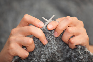 Hand knitting closeup