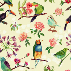 Foto op Canvas Papegaai A seamless pattern with vintage style watercolor birds and roses