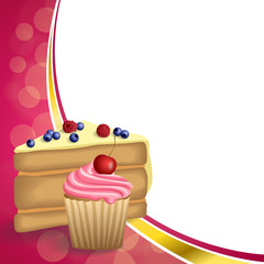 Abstract background pink yellow dessert cake blueberry raspberries cherry cupcake muffins cream frame illustration vector