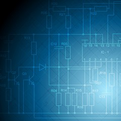 Electrical scheme tech vector background