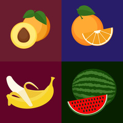 Set of vector fruits. Sweet, tasty orange, apricot, watermelone and banana.