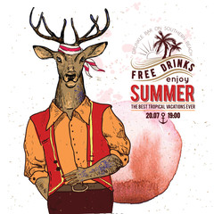 Illustration of pirate deer on textured background in vector.