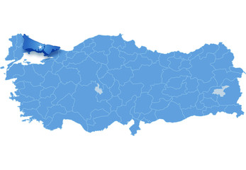 Map of Turkey where Istanbul province is pulled out