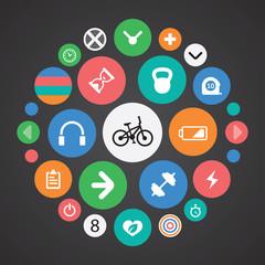 fitness icons universal set