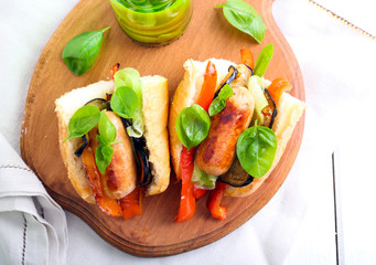 Sausages with grilled vegetables