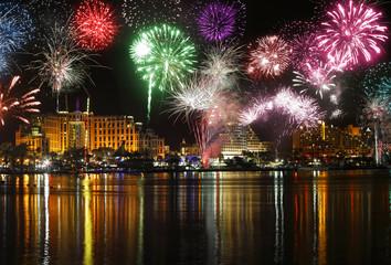 Fireworks / Celebratory fireworks at coast of Eilat (Red sea. Israel)