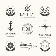 Set of retro nautical labels
