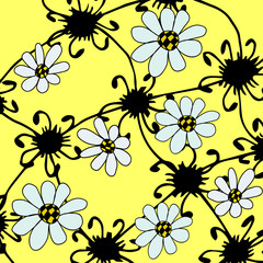 graphical abstract yellow background with white flowers