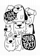 Doodle cute Dog background.