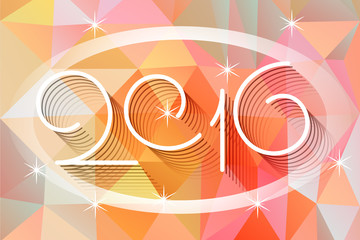 2016 Happy new year line art vector greeting card design on the colorful abstract background of polygons
