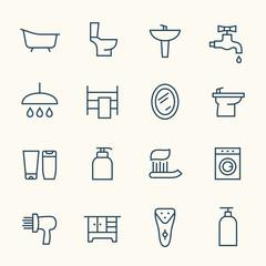 Bathroom icon set