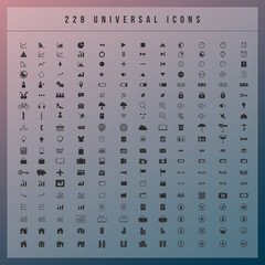Set of 228 universal modern  icons for web and mobile