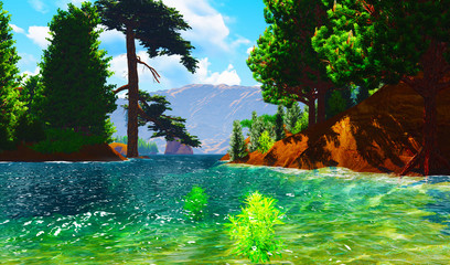 Forested shore over ocean