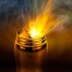 Beam of fire blaze burst out from internal can
