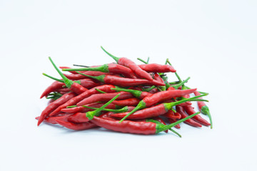 Fresh red hot chile on white background