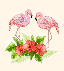 Background with flowers and pink flamingo