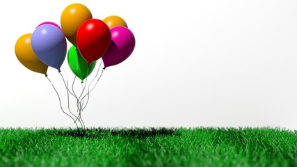 Group of colorful blank balloons on grass isolated on white