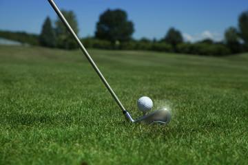 golf iron club on fairway