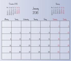Vector planning calendar January 2016