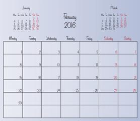 Vector planning calendar February 2016