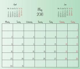 Vector planning calendar May 2016