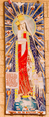 NAZARETH, ISRAEL July 8, 2015; A Mosaic donated by the people of