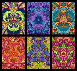 Set of six colorful decorative greeting cards on black backgrou