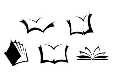 Black silhouettes of books. Vector illustration.